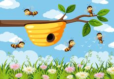 Bee in the nature background. Illustration vector illustration
