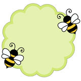Bee note paper background. Cute soft green note paper with bees background