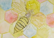 Bee with open wings on hexagon construction.