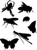 Bee and other insect silhouettes Royalty Free Stock Image