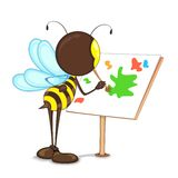 Bee Painting on Easel. Editable vector bee painting with color on easel stock illustration