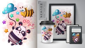 Bee and panda - movckup for your idea. Vector eps 10 vector illustration