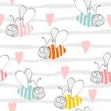 Bee pattern background. Seamless pattern stock illustration
