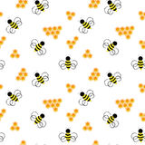 Bee pattern. Honeycomb with bee Stock Photo