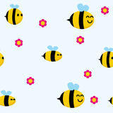 Bee pattern. Seamless pattern with cute bees vector illustration