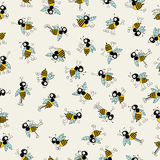 Bee pattern. Vintage seamless pattern design with cartoon bees for design fabric,backgrounds, package, wrapping paper, covers, fashion Stock Photo