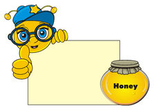 Bee peek up from clean paper. Snout of happy bee in cap peek up from the clean paper and  show gesture class next to the closed bank of honey Stock Image
