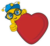 Bee peek up from the red heart. Muzzle of bee in blue cap stick out from the heart and show gesture class Stock Photo