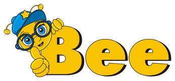 Bee peek up from the word bee. Muzzle of bee boy in cap stick out from the yellow inscription bee and show gesture cool Stock Photography