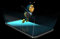 Bee on a phone - 3D Illustration stock illustration
