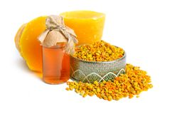 Bee pollen baskets with Beeswax. isolated on white background.  stock photos