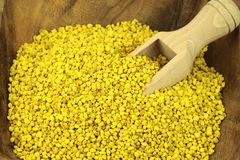 Bee pollen. Bee pollen in a wood plate and scoop Royalty Free Stock Photos
