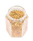 Bee pollen in glass jar Stock Images