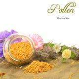 Bee pollen in glass jar copy space. Bee pollen in glass jar and flowers with copy space for text stock photos