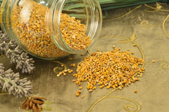 Bee pollen in glass jar and flowers Stock Images