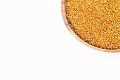 Bee pollen grains - White background. Top view. Bee pollen grains - White background stock image