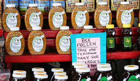 Bee Pollen and honey sold at the Farmers Market Stock Images