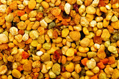 Bee pollen macro. Big bunch of bee pollen granules texture Stock Photo