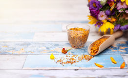 Bee pollen in plastic glass and wooden scoop. On the table stock photography