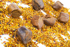 Bee pollen and propolis. Background for design Stock Image