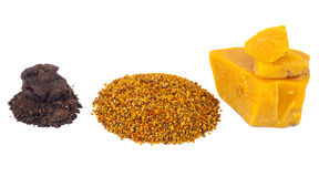 Bee pollen and propolis wax Royalty Free Stock Photos