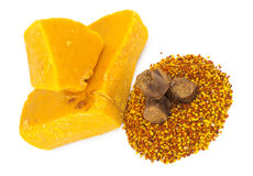 Bee pollen and propolis wax. On white background Royalty Free Stock Images