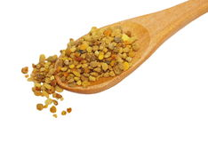 Bee pollen in spoon isolated on white Stock Photo
