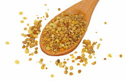Bee pollen in spoon isolated on white Royalty Free Stock Images