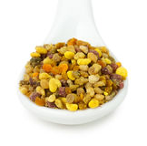 Bee pollen in spoon isolated on the white background Royalty Free Stock Images