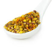 Bee pollen in spoon isolated on the white background Royalty Free Stock Photography