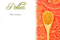 Bee pollen in wooden spoon copy space Stock Photo