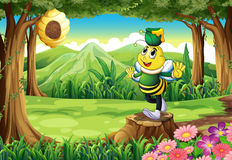 A bee with a pot above its head standing on a stump Stock Photography