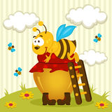 Bee on a pot of honey. Bee hug a pot of honey - vector illustration royalty free illustration