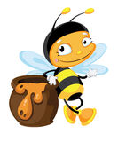 Bee with pot Stock Photography