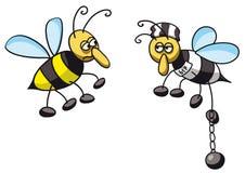 Bee prisoner. Illustration of a bee prisoner Stock Photography