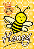 Bee. 100% Pure Honey and Bee illustration style Royalty Free Stock Photos