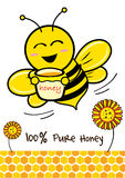 Bee. 100% Pure Honey and Bee illustration style Stock Photos