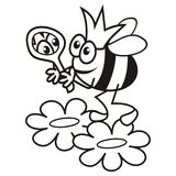 Bee - Queen - coloring book Royalty Free Stock Images