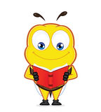 Bee reading a book. Clipart picture of a bee cartoon character reading a book Stock Photography