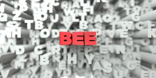 BEE -  Red text on typography background - 3D rendered royalty free stock image. This image can be used for an online website banner ad or a print postcard Stock Photo