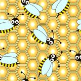 Bee repetition. Abstract honeycomb background with bee Royalty Free Stock Photos