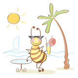 Bee on the rest. Bee on the deserved rest on the sea Royalty Free Stock Photography