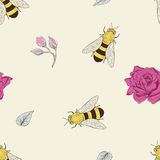 Bee and rose seamless pattern Royalty Free Stock Photo