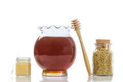 Bee royal jelly pollen in small glass jars with honey and  in a kitchen Stock Photos