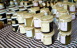 Bee's honey. Stall with bee's honey in jars Royalty Free Stock Photos