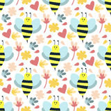 Bee seamless pattern vector. Royalty Free Stock Image