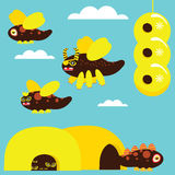 Bee Set. Monster bee set blue background stock illustration