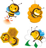 Bee set 2. Bee action set 2, featuring cute bees doing bee stuff Royalty Free Stock Photos