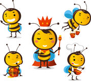 Bee set 1. Bee action set, featuring 5 cute bees  illustration Royalty Free Stock Images