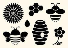 Bee set. Honey. Black silhouettes. Vector illustration royalty free illustration